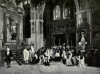 Tosca - The Te Deum scene which concludes act 1; Scarpia stands at left. Photograph of a pre-1914 production at the old Metropolitan Opera House, New York