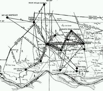 NLF and PAVN battle tactics - VC camp and movement network in one SVN district, 1966–67.
