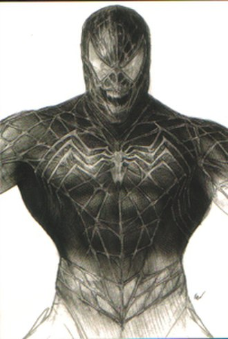 Spider-Man 3 - Concept art of the Venom suit, which possesses a webbing motif, unlike the comics, in order to show the symbiote's control and represent the character as a twisted foil to Spider-Man.