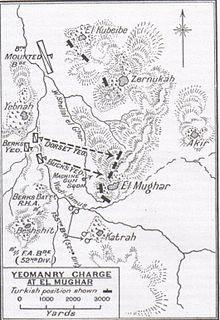 Mapo montras El-kubeibe, Zernukah, Akir, Yibna, Bashshit kaj Qatra kun Wadi Jamus; 8-a Mounted Brigade-ĉefsidejo, la regimentoj kaj maŝinpafiloj, artilerio- kaj kampambulanco