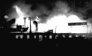 SS Yarmouth Castle - Photograph of the fire taken from the boat deck of Bahama Star