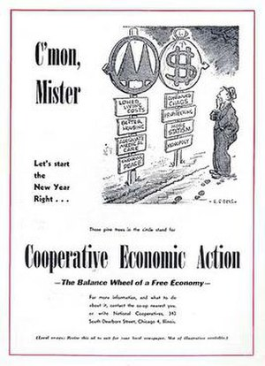 Consumers' co-operative - January 1947 Co-op Magazine back cover designed as a promotional poster