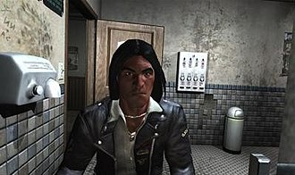 """Prey (2006 video game) - A screenshot from the final build of the game showing the main character """"Domasi Tawodi"""", AKA """"Tommy"""""""