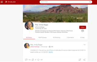 Parler American microblogging and social networking service