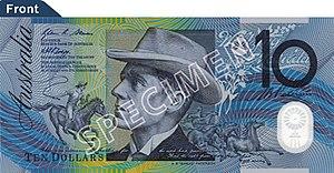 Australian ten-dollar note - 1993-2017 polymer note—obverse