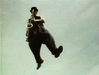 Baggy Trousers - Lee Thompson flying through the air.
