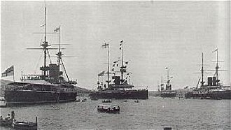 Mediterranean Fleet - Image: British warships, Malta 1902