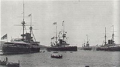 June 22: British Mediterranean Fleet flagship Victoria sinks. British warships, Malta 1902.jpg