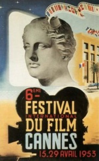 1953 Cannes Film Festival - Official poster of the 6th Cannes Film Festival, an original illustration by Jean-Luc.