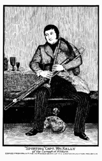 An Irish aristocrat, seated, playing the Uilleann pipes.