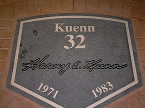 "A dark granite plaque inscribed with white text reading, ""Kuenn, 32, 1971, 1983"" along with the facsimile signature of Harvey Kuenn"