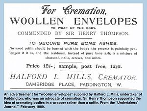 Crematory - Advertisement for woolen envelopes to wrap the body in for cremation, appearing in the Undertaker's Journal, 1889.