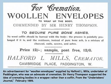 Advertisement for woollen envelopes to wrap the body in for cremation, appearing in the Undertaker's Journal, 1889. Cremation advertisement 1889.jpg
