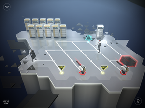 Deus Ex Go - In this screenshot of gameplay, Jensen (left) must reach the exit node without being killed by the guard. A computer terminal nearby controls a turret to help with this.