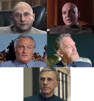 Ernst Stavro Blofeld - Blofeld in (clockwise from upper-left) You Only Live Twice (Donald Pleasence), On Her Majesty's Secret Service (Telly Savalas), Never Say Never Again (Max von Sydow), Spectre (Christoph Waltz), and Diamonds Are Forever (Charles Gray)