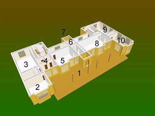 "Ground-floor plan. Key: 1: East terrace, 2: Servant's Hall, 3: Kitchen, 4: Service rooms, 5: Originally two separate rooms, the ""pannetry"" (sic) and the ""buttery"", 6: Clifton Maybank corridor, 7: West-facing principal entrance, 8: Great Hall, 9: Drawing Room, 10: Parlour. ExplodedMontacute1.jpg"