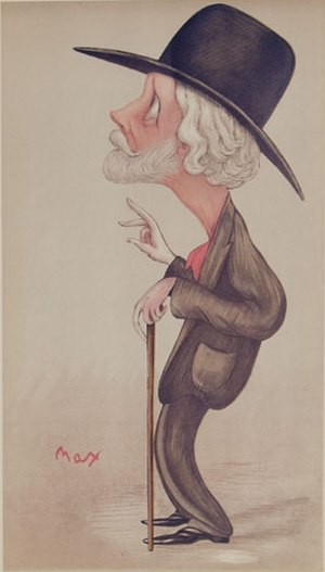 "George Meredith - ""Our first novelist"" Meredith as caricatured by Max Beerbohm in Vanity Fair, September 1896"