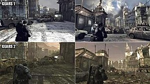 "Gears of War 2 - Comparison of the map ""Gridlock"" in Gears of War and Gears of War 2"
