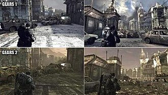 """Gears of War 2 - Comparison of the map """"Gridlock"""" in Gears of War and Gears of War 2"""