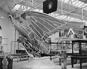 USS Lancaster Eagle - The USS Lancaster Eagle in the process of being gold leafed at The Mariners' Museum in 1964