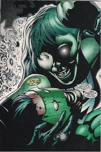 Jade (comics) - Jade as a Black Lantern, menacing her former love. Art by Patrick Gleason.