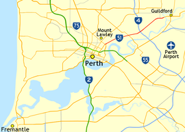 Road map showing Guildford Road between central Perth and Guildford to the north-east