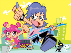 Hi Hi Puffy AmiYumi - The main cast of the show. From left to right: Ami, Kaz, Yumi, Jang-Keng, and Tekirai.
