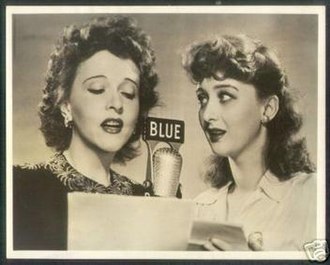 Blue Network - Jessie Royce Landis (l) and Celeste Holm (r) pose with a Blue Network microphone in this 1943 publicity still for the show The House on Q Street. Collection of E.O. Costello
