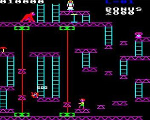 Killer Gorilla - Screenshot of the 75m level (BBC Micro)