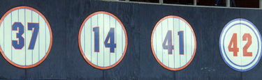 Retired numbers by the Mets, as they appear in left field (Sept. 2007).