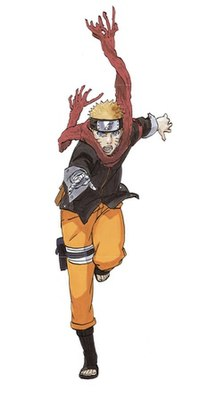 Naruto Uzumaki in his teen years, when he wore an orange and black tracksuit.