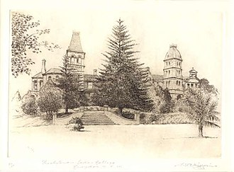 Presbyterian Ladies' College, Sydney - Sketch of PLC, featuring gardens and the Shubra Hall and Main School towers, c. 1935