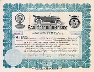 Samuel Pandolfo - Stock certificate for Pan Motorcar Company