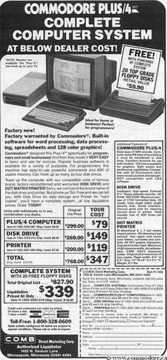 Commodore Plus/4 - The Plus/4 was sold at closeout sales through the computer press via ads similar to this one