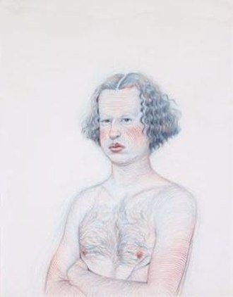 Geoffrey Chadsey - Portrait II by Geoffrey Chadsey, 2000, red and blue watercolor pencil on vellum paper, Honolulu Museum of Art