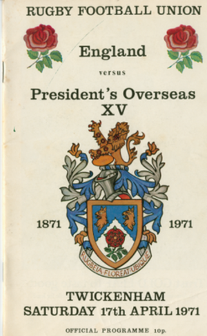 England v President's Overseas XV - Programme for the President's Overseas XV match played in 1971
