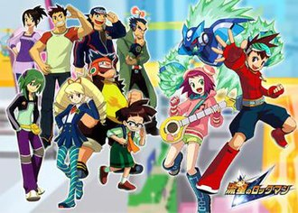 Mega Man Star Force (TV series) - An image depicting many of the series' main characters. From left to right, top row: Hope, Kelvin, Aaron, Copper, Omega-Xis; bottom row: Pat, Luna, Bud, Zack, Sonia, and Geo.