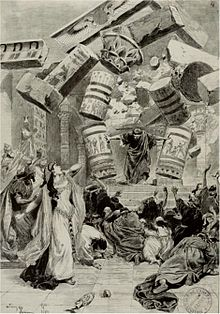 Press illustration of opera production, showing singer playing Samson demolishing the enemy temple