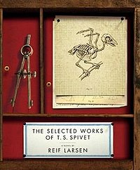 Book cover featuring the sparrow skeleton for which the author was named, as well as several pieces of cartography equipment..