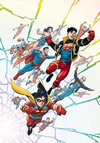 Superboy - Cover to Superboy vol. 4, No. 61 (1999) by Tom Grummett, showing Kon-El (in jacket), Kal-El (beneath Kon's right arm), and other Superboys from DC's Multiverse.