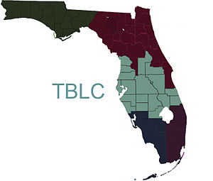Tampa Bay Library Consortium - Map of the TBLC member area in Florida serving over 6.3 million patrons.