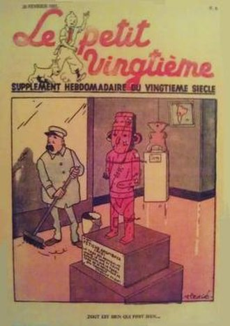The Broken Ear - A scene from The Broken Ear on the cover of Le Petit Vingtième