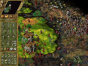 The Settlers IV - Screenshot of The Settlers IV, showing terrain corrupted by the Dark Tribe, which can only be reclaimed by using gardeners on the affected areas. The context menu on the left shows the player has selected a single level 2 bowman, and their army's offensive strength is at 111%.