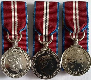 Queen Elizabeth II Diamond Jubilee Medal - Image: Three Diamond Jubilee medals