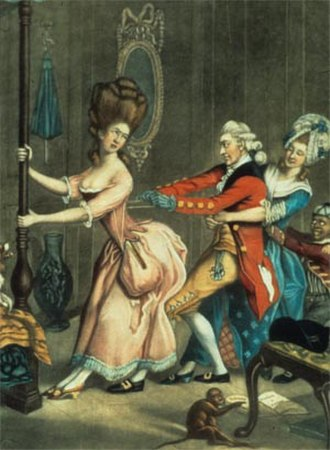 Undergarment - Tight Lacing, or Fashion Before Ease, an early-1770s satirical drawing by John Collet