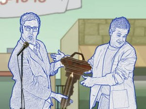 Tom Goes to the Mayor - Main characters the Mayor (left) and Tom Peters