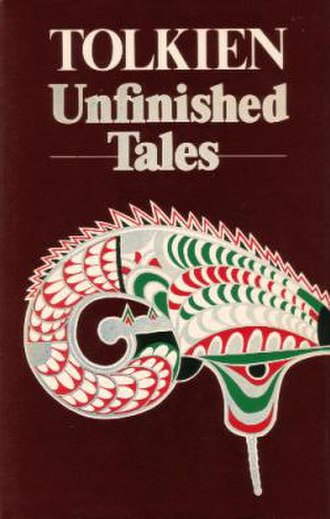 Unfinished Tales - Cover of the first edition. It features Tolkien's drawing of a Númenórean helmet.