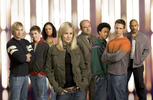 "Veronica Mars (season 2) - The main characters of the second season include (from left to right): Dick Casablancas, Cassidy ""Beaver"" Casablancas, Jackie Cook, Veronica Mars, Keith Mars, Wallace Fennel, Logan Echolls, and Eli ""Weevil"" Navarro. (Not pictured is Teddy Dunn as Duncan Kane, who left midseason)."