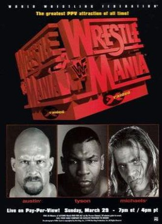 WrestleMania XIV - Promotional poster featuring Stone Cold Steve Austin, Mike Tyson and Shawn Michaels
