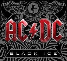 "In the forefront, the logo for AC/DC in red letters, and under it a quadrilateral with ""Black Ice"" in white letters. In the background, a mosaic with tribal motifs, drawings of horns, wings, a man in a straitjacket, and a guitarist inside a cog."